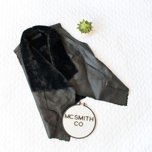 Blank NYC NWOT Black Vegan Leather Fur Lined Vest